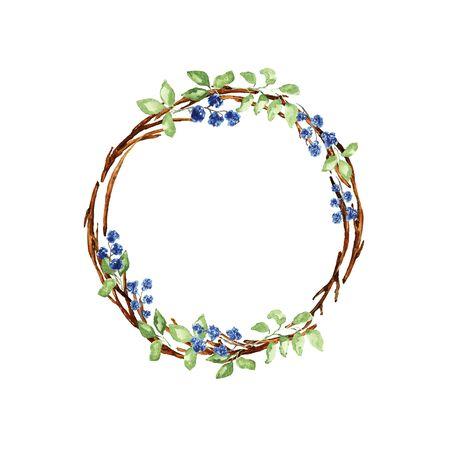 Elegant christmas wreath. Twigs, green leaves, blue flowers elements. Watercolor technique