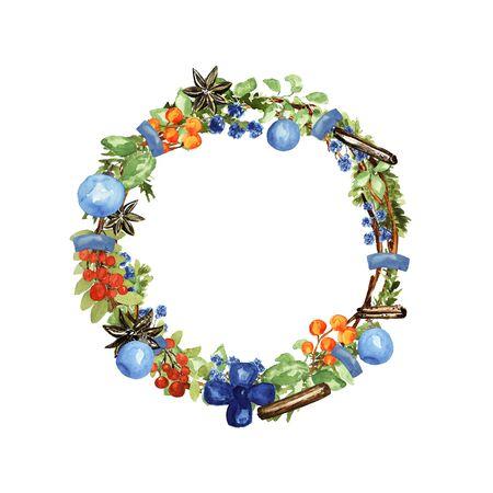 Ornate Christmas wreath. Berries, lemon, vanilla, cinnamon, balls elements. Watercolor technique Stok Fotoğraf