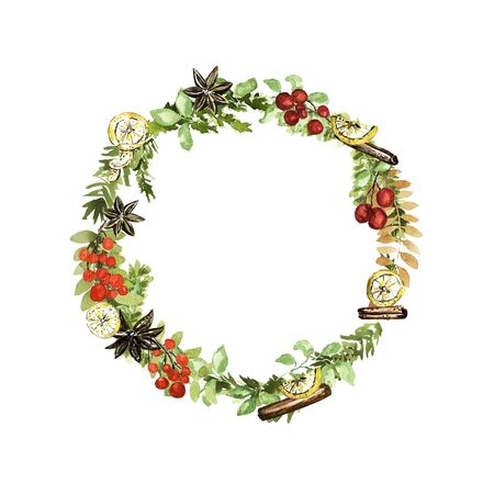 Ornate Christmas wreath. Berries, lemon, vanilla, cinnamon elements. Watercolor technique Stockfoto