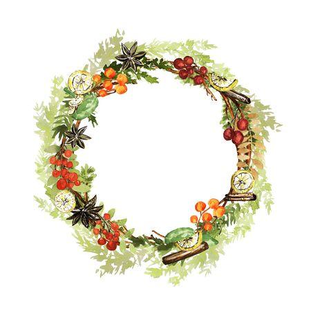 Ornate Christmas wreath. Twigs, lemon, vanilla, cinnamon, pale fir, berries elements. Watercolor technique Stok Fotoğraf