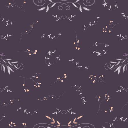 Autumnal floral seamless pattern.  Orange berries, vignettes, curvy branches. Pencil drawing, digital painting. Dark background 写真素材