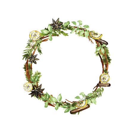 Corona de Navidad adornada. Ramitas, abeto, limón, vainilla, elementos de canela. Técnica de acuarela Foto de archivo