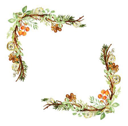 Ornate Christmas frame. Twigs, lemon, fir, orange berries elements. Watercolor technique Фото со стока