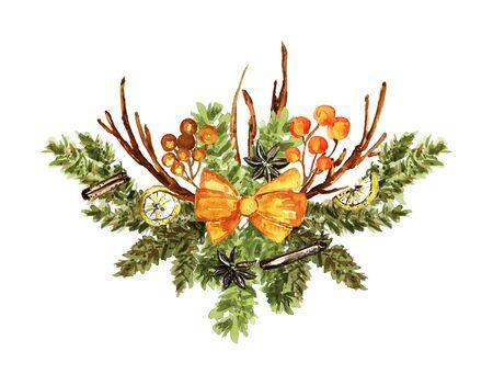 Ornate Christmas bouquet on white. Fir branches, twigs, orange bow, lemon slices, vanilla, cinnamon elements. Watercolor technique