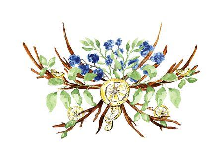 Ornate Christmas bouquet on white. Green branches, twigs, cotton flowers, lemon slices elements. Watercolor technique