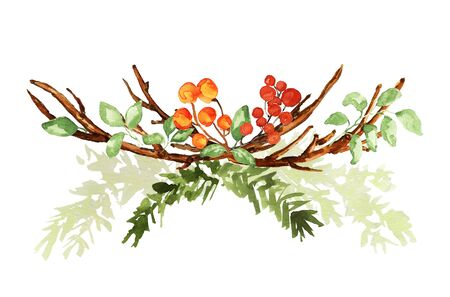 Ornate Christmas bouquet on white. Fir branches, twigs, green leaves, berries elements. Watercolor technique