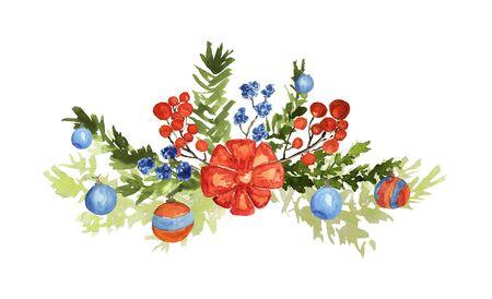 Ornate Christmas bouquet on white. Fir branches, balls, berries, bow, cotton flowers elements. Watercolor technique Фото со стока