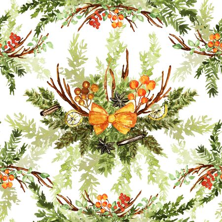 Ornate watercolor seamless pattern. Lemons, twigs, berries, bow and fir branches. Yellow, orange, green colors, watercolor technique