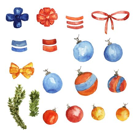 Christmas collection of watercolor elements. Christmas tree balls, tapes, bows, pine branches.