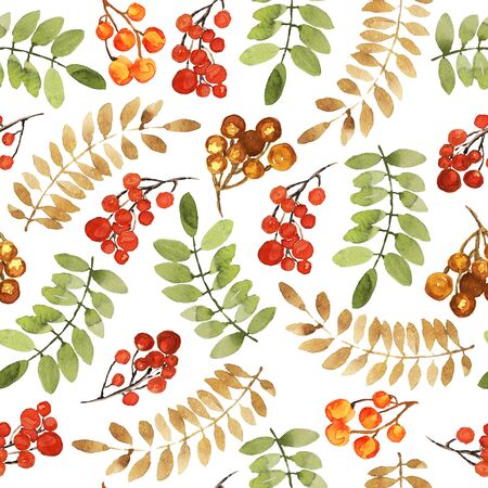 Christmas seamless pattern. Reg and orange berries, leaf branches elements. Watercolor technique