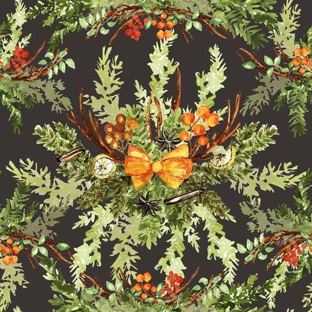 Ornate watercolor seamless pattern. Lemons, twigs, berries, bow and fir branches. Yellow, orange, green colors, watercolor technique. Dark background