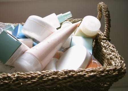 health and beauty: skin care products in basket Stock Photo