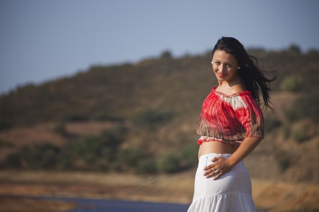 Woman on a nature walk in Rio Tinto, Spain photo