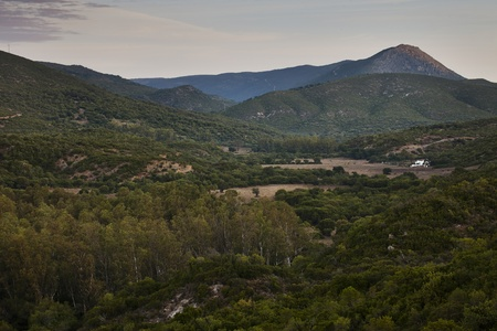 Sunrise at a national park meadow Alcornocales (Spain) photo