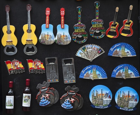 Flag as a souvenir, fan, bottle, and castanets in Spain