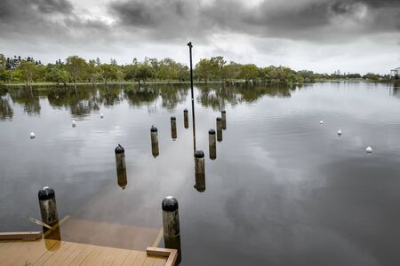 flooding at emerald lakes caused by consistant rain downpours on the Gold Coast, Queensland, Australia 版權商用圖片