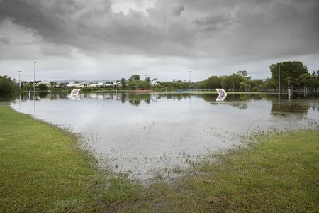 heavy consistent rain causes flood damaged waters on the Gold Coast, Queensland, Australia