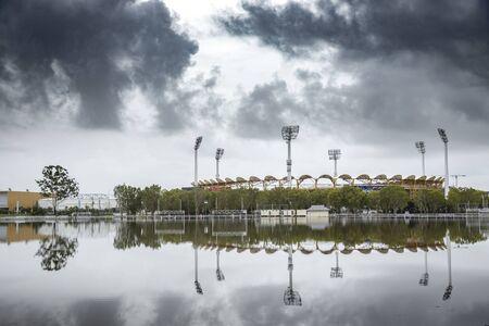 flooding at the Metricon stadium on the Gold Coast, Queensland, Australia