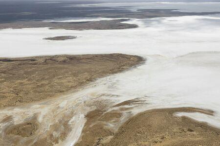 Lake Eyre Salt Flats Basin South Australia aerial view Archivio Fotografico