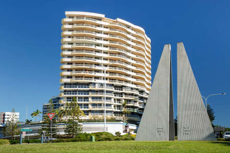 Coolangatta, Australia: June 25, 2016: Queensland and New South Wales state border, geographical marker monument in Tweed Heads, Gold Coast, Queensland, coronavirus border protection, Australia