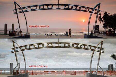 Surfers Paradise before after covid-19 beach closure concept. coronavirus lockdowns for Surfers Paradie iconic beach to help stop the spread of the coronvirus, Gold Coast, Australia