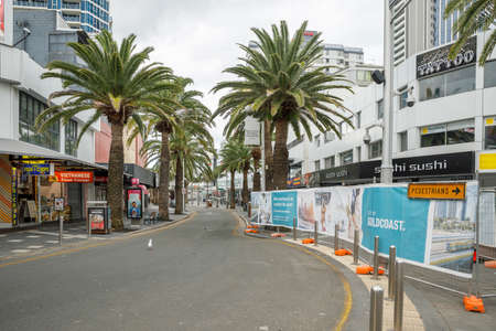 Surfers Paradise, Australia - April 8, 2020: coronavirus lockdown empty streets of elkorn ave Surfers Paradise, covid 19 causes business closures and shutdowns in this pandemic lockdown, gold coast Editorial
