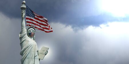 statue of liberty new york covid-19, coronavirus concept, liberty monument with american medical mask and american flag background. USA covid 19 pandemic and city of new york crisis concept, panorama