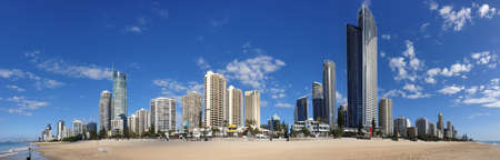 Surfers Paradise, Australia - April 23, 2020: Surfers Paradise empty beach panorama, no people on world famous and iconic tourist destination beach, Gold Coast during the covid-19 coronavirus pandemic Editorial