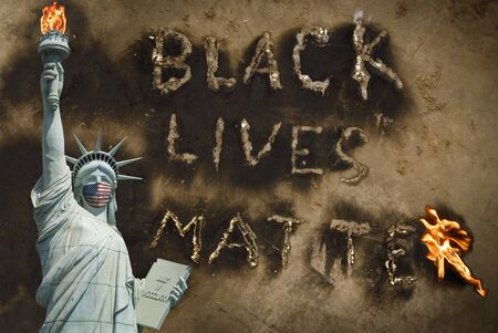 Black Lives Matter protest USA concept, statue of liberty with medical mask human rights protest message background, liberty and justice concept, end racism, stop violence against black people America Stock Photo