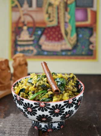 indian rice -khichdi in to the bowl photo