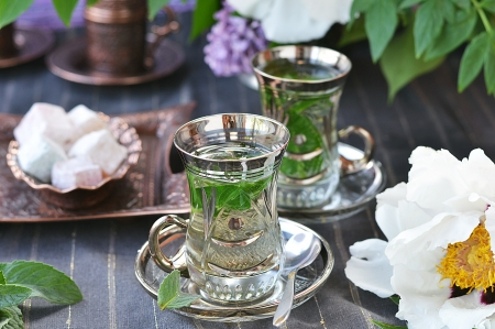 pewter:    mint tea with   Turkish delight