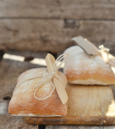 ciabatta bread on the wooden table photo