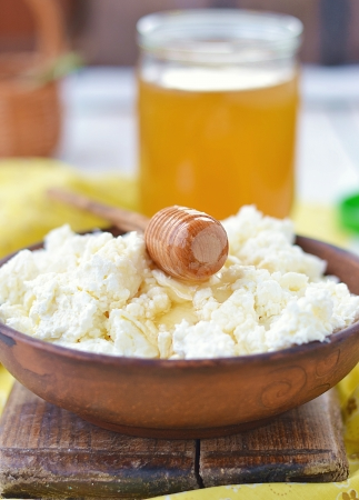 homemade cottage cheese with honey photo