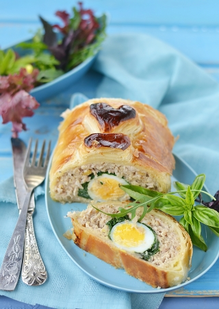 meat loaf with eggs and mangold Stock Photo - 22535963