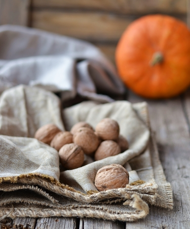walnuts and pumpkin on rustic background photo