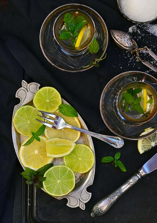 mint tea with  lemon and lime photo