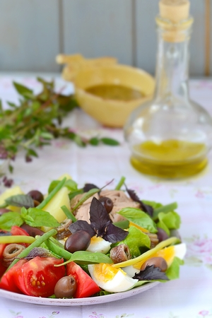 Nicoise,french traditional vegetables salad  close up photo