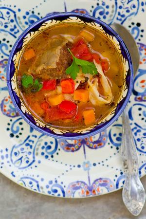 uzbek: lagman.A traditional Uzbek dish.close up