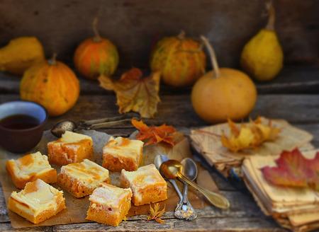 pumpkin pie about cream cheese on an autumn  photo