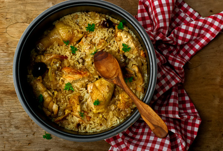 green dates: Stewed chicken with rice and dates in the crock-pot