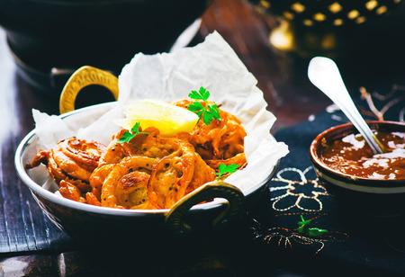 chutney: onions  bhaji with mango chutney. Indian cuisine