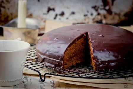 Sachertorte.traditional Austrian chocolate pie. selective focus