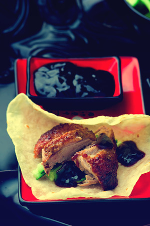 hoisin: Peking Duck . Chinese cuisine. selective focus.