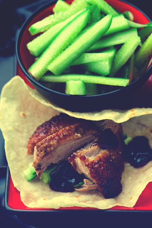 hoisin sauce: Peking Duck . Chinese cuisine. selective focus.