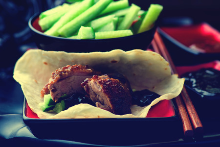 hoisin sauce: Peking Duck . Chinese cuisine. selective focus.image is tinted