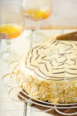 torte: Esterhazy Torte. traditional Austrian pie. selective focus Stock Photo