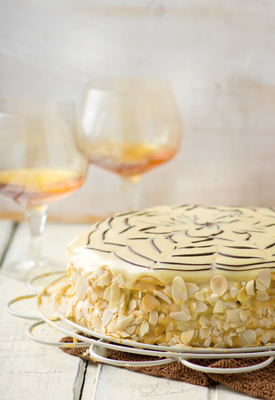 torte: Esterhazy Torte. traditional Austrian pie. selective focus Stock Photo