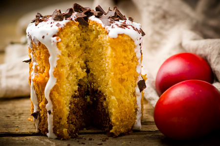 russian easter: Easter cake kulich  , traditional Russian easter pastries. style rustic, wooden