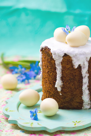 russian easter: Easter cake kulich  , traditional Russian easter pastries. style rustic Stock Photo