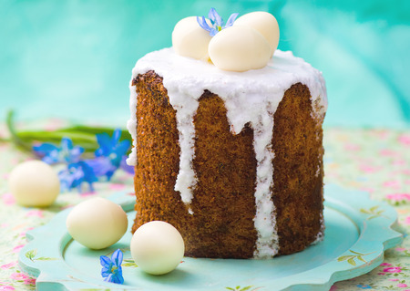 russian easter: Easter cake kulich  , traditional Russian easter pastries. style rustic, wooden  Stock Photo